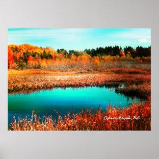 秋の木および湿地帯ニューファウンドランドカナダ ポスター