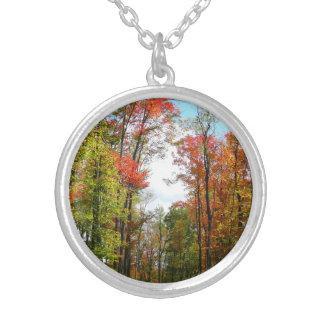 秋の木および青空の秋の自然の写真撮影 シルバープレートネックレス