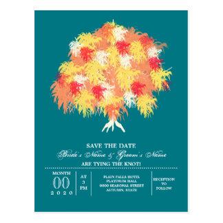 秋の木のシダレヤナギのシダ ポストカード