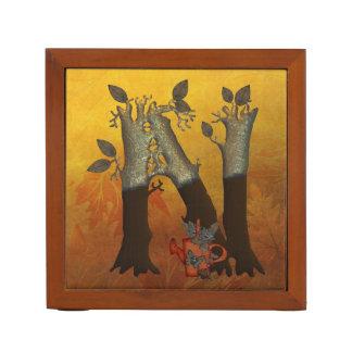 秋の木のモノグラムN ペンスタンド