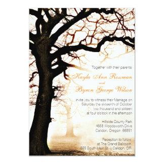 秋の木の結婚式招待状 カード
