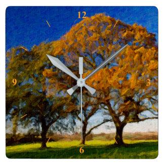 秋の木 スクエア壁時計