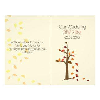 秋の木、秋のBiの折目の結婚式プログラム チラシ