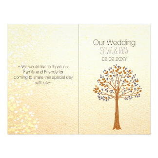 秋の木、素朴な結婚式のBiの折目の結婚式プログラム チラシ