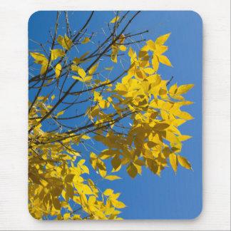 秋の木v2の黄色の葉 マウスパッド
