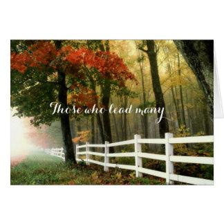 秋の森の牧師の感謝の白い塀 カード