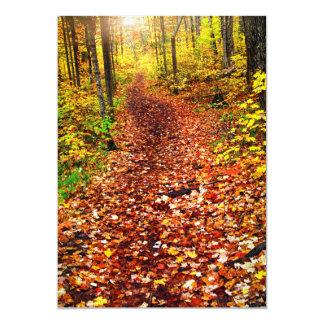 秋の森林の道 カード