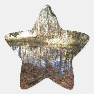 秋の森林場面 星シール