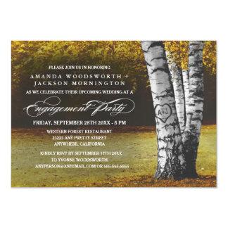 秋の樺の木の婚約パーティの招待状 カード