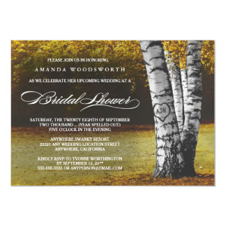 秋の樺の木の素朴なブライダルシャワー招待状 カード