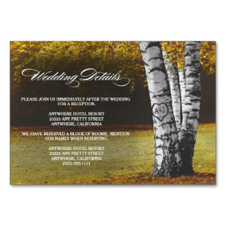 秋の樺の木の結婚披露宴 + ホテルカード カード