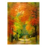 秋の歩行の郵便はがき 葉書き