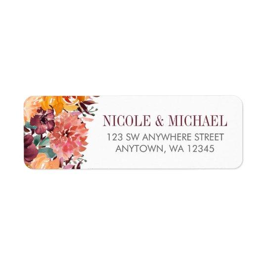 秋の水彩画によっては差出人住所が開花します 返信用宛名ラベル
