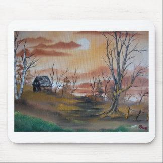 秋の狩りの小屋 マウスパッド