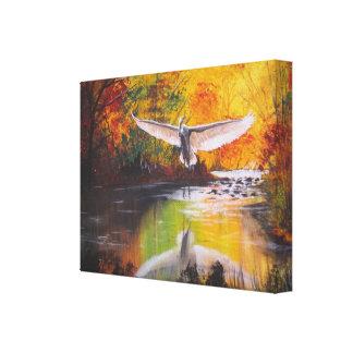 秋の白鷺 キャンバスプリント