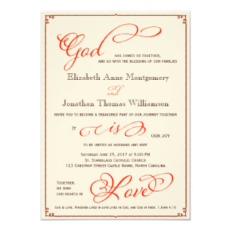 秋の神は愛クリスチャンの結婚式招待状です 12.7 X 17.8 インビテーションカード
