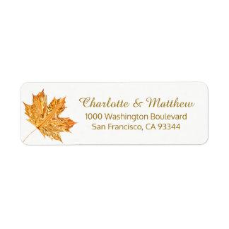 秋の秋のホワイトゴールドの葉の結婚式の差出人住所 ラベル