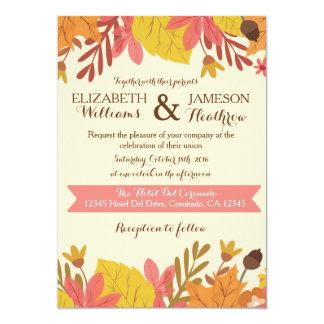 秋の秋の花柄の結婚式招待状 カード