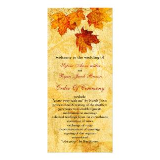秋の秋の茶色は結婚式プログラムを残します ラックカード