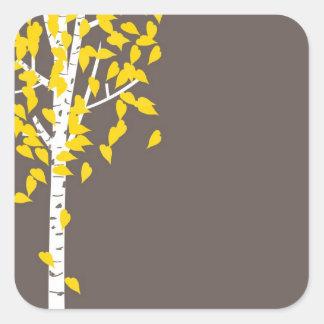 秋の秋の《植物》アスペンの木のステッカー スクエアシール
