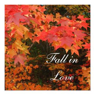 秋の紅葉のブライダルシャワーのパーティの招待状 カード