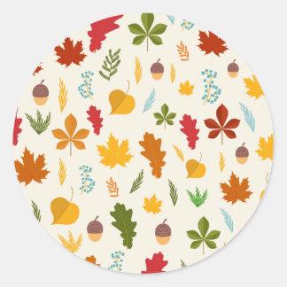 秋の紅葉の季節的なdecoritive thankgiving ラウンドシール