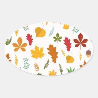 秋の紅葉の季節的なdecoritive thankgiving 楕円形シール