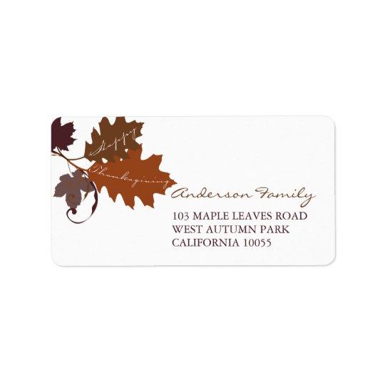 秋の紅葉の感謝祭の宛名ラベル 宛名ラベル