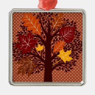 秋の紅葉の木の11月の収穫 メタルオーナメント