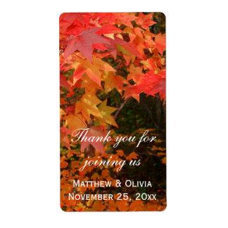 秋の紅葉の結婚式の引き出物のワインのラベル ラベル