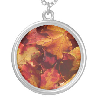 秋の紅葉 シルバープレートネックレス