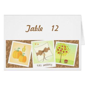 秋の結婚式のテーブル数カード#2 カード