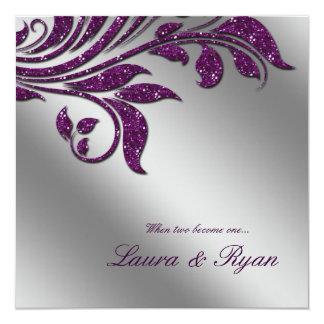 秋の結婚式の招待の輝きの葉の紫色の銀 カード