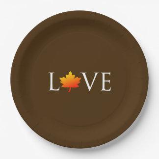 秋の結婚式の秋愛素朴なオレンジ葉ブラウン ペーパープレート