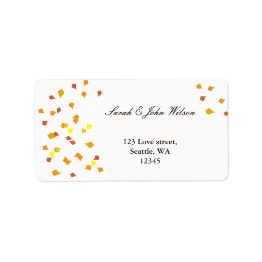 秋の結婚式、差出人住所ラベル 宛名ラベル