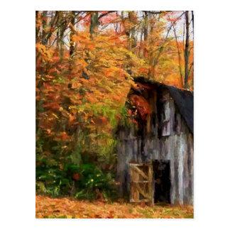 秋の美しいのヴィンテージの納屋の挨拶状 ポストカード