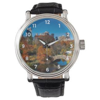 秋の群葉ニューヨークのセントラル・パーク 腕時計