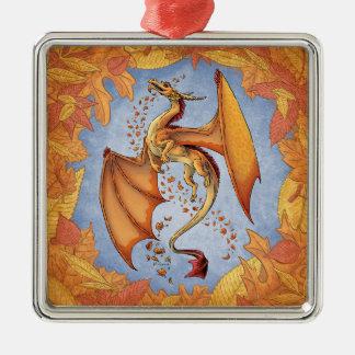 秋の自然のファンタジーの芸術のオレンジドラゴン シルバーカラー正方形オーナメント