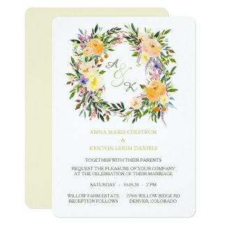 秋の花のリースのモノグラムの結婚式招待状 カード