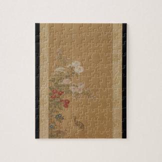 秋の花の下のウズラ-日本(江戸時代) ジグソーパズル