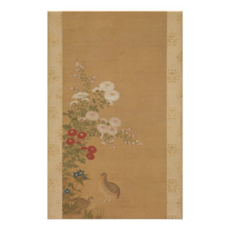 秋の花の下のウズラ-日本(江戸時代) 便箋