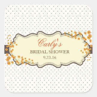 秋の花の水玉模様のブライダルシャワーの好意のステッカー スクエアシール