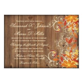 秋の花の素朴な木製の秋の結婚式の招待状 カード
