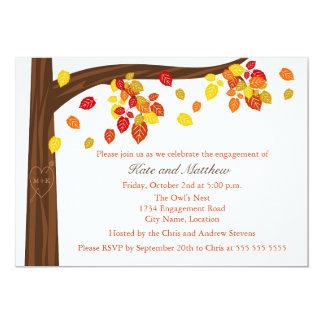 秋の落ちる葉の婚約パーティの招待状 12.7 X 17.8 インビテーションカード