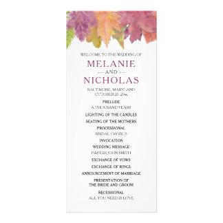 秋の葉の結婚式プログラムの素朴な秋の白3973 ラックカード