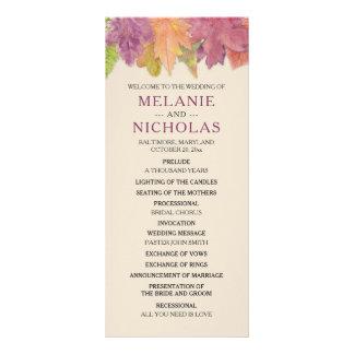 秋の葉の結婚式プログラム、素朴な秋3973 ラックカード