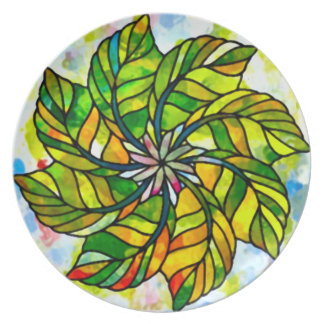 秋の葉の車輪のモザイク プレート