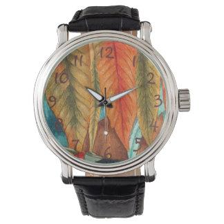 秋の葉は元の様式化された近代美術を着色します 腕時計
