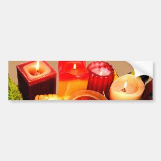秋の蝋燭および葉の整理 バンパーステッカー