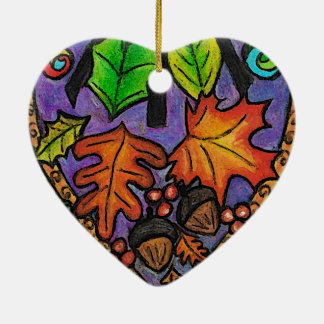 秋の要素 陶器製ハート型オーナメント